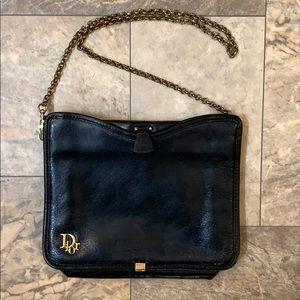 Vintage Christian Dior Black Leather Chain Bag